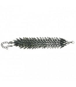 Silver / Black Feather Bracelet