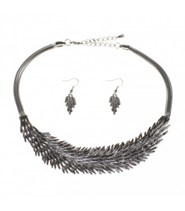 Black / Grey Feather Necklace & Earrings Set