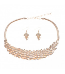 Rose Gold Feathers Necklace and Earring Set