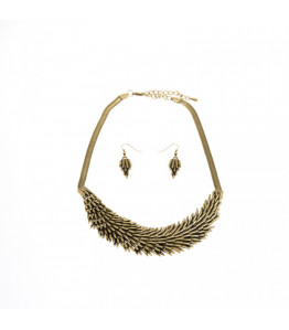 Dark Gold Feather Necklace & Earring Set