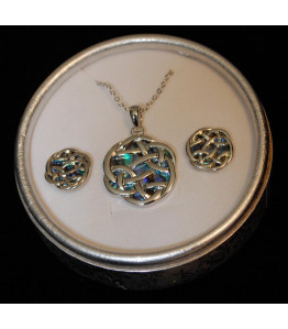 Silver Paua Necklace & Earring Set