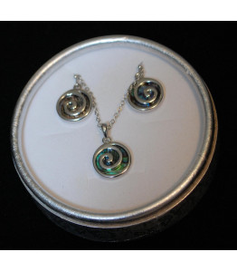 Paua Swirl Ladies Necklace and Earrings Set