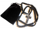 Beautiful Black Wood Corded Rosary Gift Set