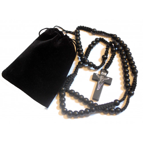 Beautiful Black Wood Corded Rosary Gift Set - Includes Black Wooden Five Decade Rosary and Velvet Feel Drawstring Bag - Perfect for a Car or Travel Rosary - Suitable for Men or Women