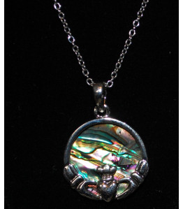 Paua Ladies Claddagh Necklace