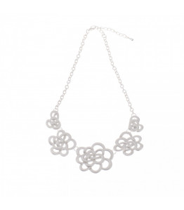 Silver Daisy Swirl Statement Necklace