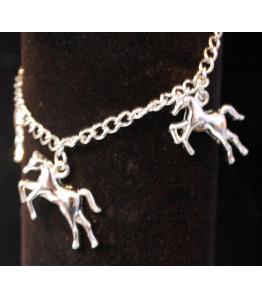 Girls Silver Horse Charm Bracelet