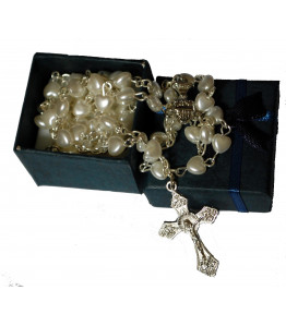 Beautiful White Heart Rosary Beads with Free Navy Blue Gift Box - Perfect First Rosary, Communion or Confirmation Present