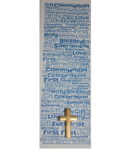 Boys Communion Bookmark & Gold coloured Cross Pin Badge Set - Gorgeous Communion Double Sided Bookmark and  Cross Lapel Brooch Pin Badge Gift - Ideal Keepsake Present - Catholic Christian Methodist Anglican Christianity