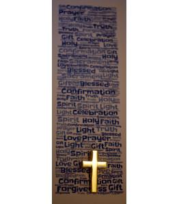 Boys Confirmation Bookmark & Gold coloured Cross Pin Badge Set - Gorgeous Confirmation Double Sided Bookmark and  Cross Lapel Brooch Pin Badge Gift - Ideal Keepsake Present - Catholic Christian Methodist Anglican Christianity