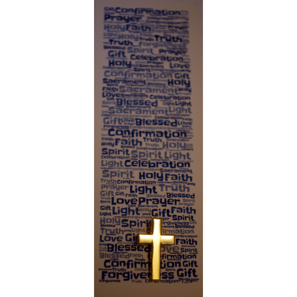 Boys Confirmation Bookmark & Gold coloured Cross Pin Badge Set - Gorgeous Confirmation Double Sided Bookmark ...
